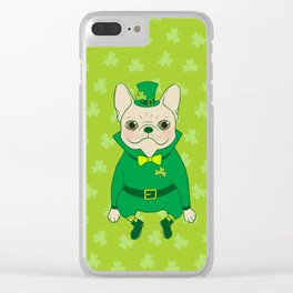 Cute French Bulldog is Feeling Lucky on St. Patrick's Day Clear iPhone Case