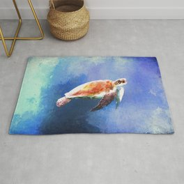 Sea Turtle Watercolor Art Rug