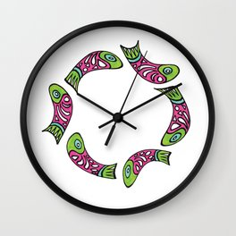 Row Of Fish Wall Clock