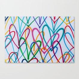 Multicoloured Love Hearts Graffiti Repeat Pattern Canvas Print