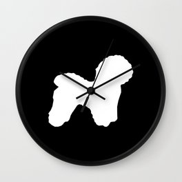 Bichon Frise dog black and white minimal pet art dog breeds silhouette Wall Clock