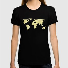 World Map Yellow Gold Shimmery T-shirt