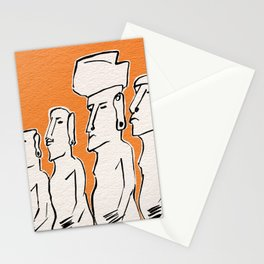 Moai statues in ink Stationery Cards