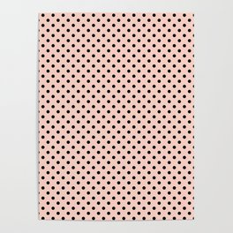Small black polka dots on a pink beige background. Poster