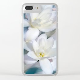 Flowers white macro 057 Clear iPhone Case