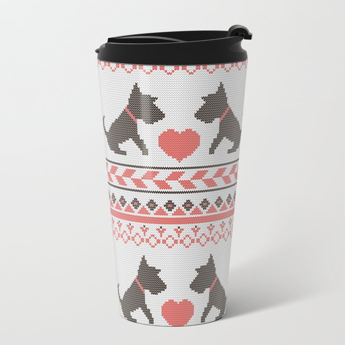 Knitted New Year 2018 Retro Pattern With Dogs Metal Travel Mug By. Bright  Design Best ...