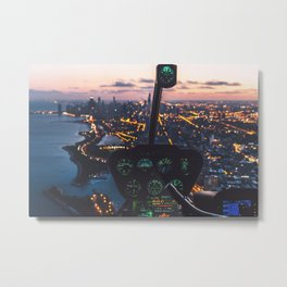 Helicopter Over Chicago Illinois Skyline Metal Print