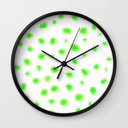 Green Pixels Polka Dots Wall Clock