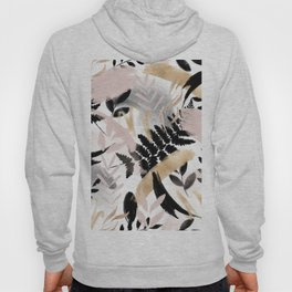 Pink black white faux rose gold brushstrokes floral Hoody