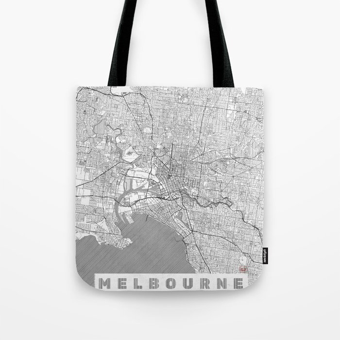 Melbourne Map Line Tote Bag