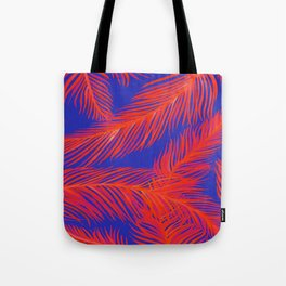 Tropical Palm Print - Red and Blue Tote Bag