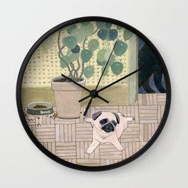 Pug Puppy Playing Wall Clock