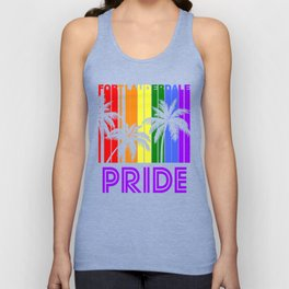 Fort Lauderdale Pride Gay Pride LGBTQ Rainbow Palm Trees Unisex Tank Top