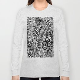 Mushy Madness doodle art Black and White Long Sleeve T-shirt
