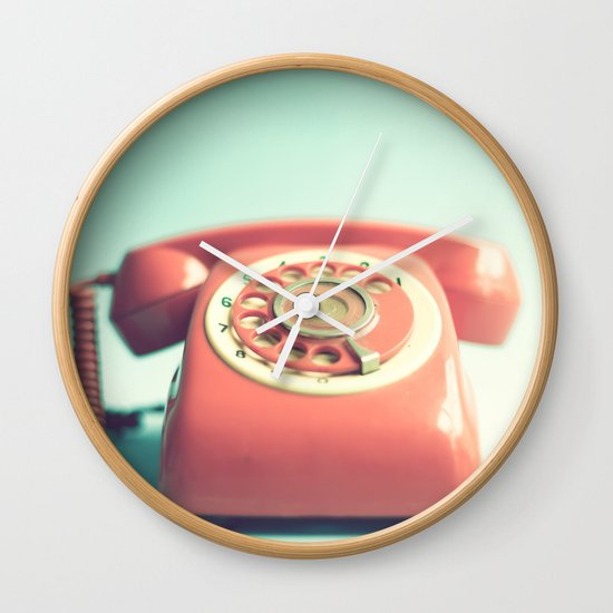 Pink Retro Telephone on Mint  Wall Clock