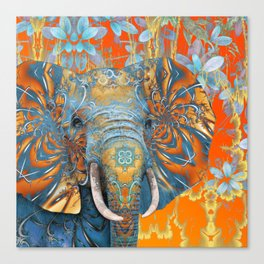 The Happy Blue Elephant Canvas Print