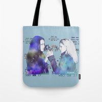 orphan black Tote Bags featuring Orphan Black, Who Am I? by Your Friend Elle
