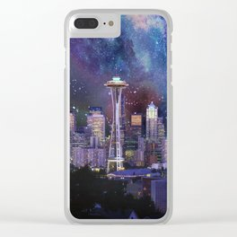 Spacey Seattle Clear iPhone Case