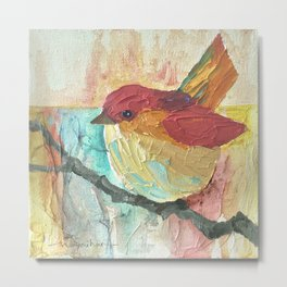 Colorful Red Bird Metal Print
