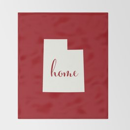Utah is Home - White on Red Throw Blanket