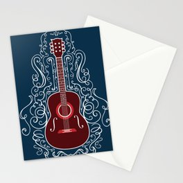 Acoustic Guitar With A Scroll Design Stationery Cards