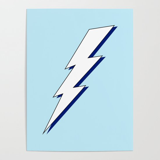Just Me and My Shadow Lightning Bolt - Light-Blue White Blue by multifascinated