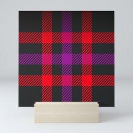 tartan purple red Mini Art Print