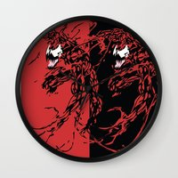 carnage Wall Clocks featuring Carnage by Young Jake