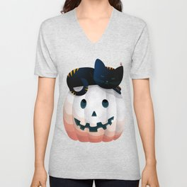 065 - tired kitty on the Halloween pumkpin Unisex V-Neck