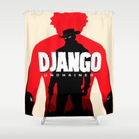 django Shower Curtains featuring Django Unchained Poster by Soren Barton