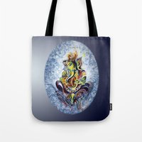 ganesha Tote Bags featuring Ganesha by Harsh Malik