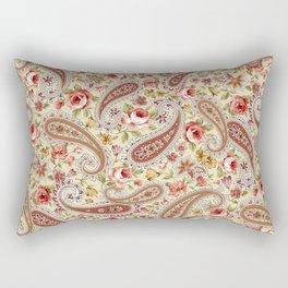 Yellow Paisley Red Rose Floral Rectangular Pillow