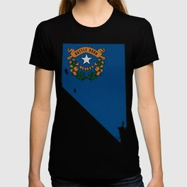 Nevada Map with State Flag T-shirt