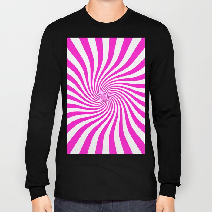 Swirl (Hot Magenta/White) Long Sleeve T-shirt