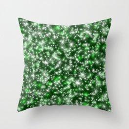 Green Christmas Lights Throw Pillow