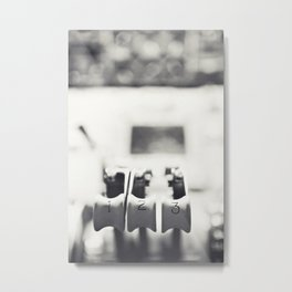 Thrust Levers in Black and White Metal Print