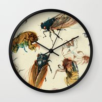 line Wall Clocks featuring summer cicadas by Teagan White