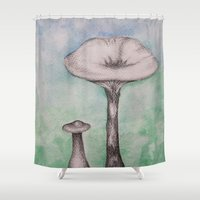 mushrooms Shower Curtains featuring mushrooms by Diane Nicholson
