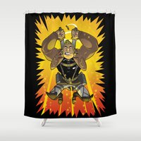 attack on titan Shower Curtains featuring Attack on Samson by ClayGrahamArt