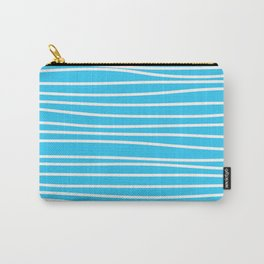Simply small aqua and white handrawn stripes - horizontal - for your summer on #Society6 Carry-All Pouch