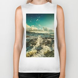 Perfect evening by the sea Biker Tank