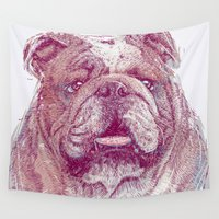 bulldog Wall Tapestries featuring Bulldog by Ahmad Mujib