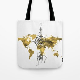 Gold World Map 2 Tote Bag
