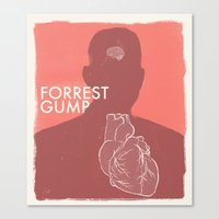forrest gump Canvas Prints featuring Forrest Gump - Movie Poster by Joel Amat Güell