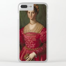 A Young Woman and Her Little Boy OIl Painting by Agnolo Bronzino Clear iPhone Case