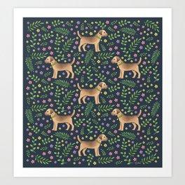 Border Terriers Spring Floral on navy - pattern Art Print