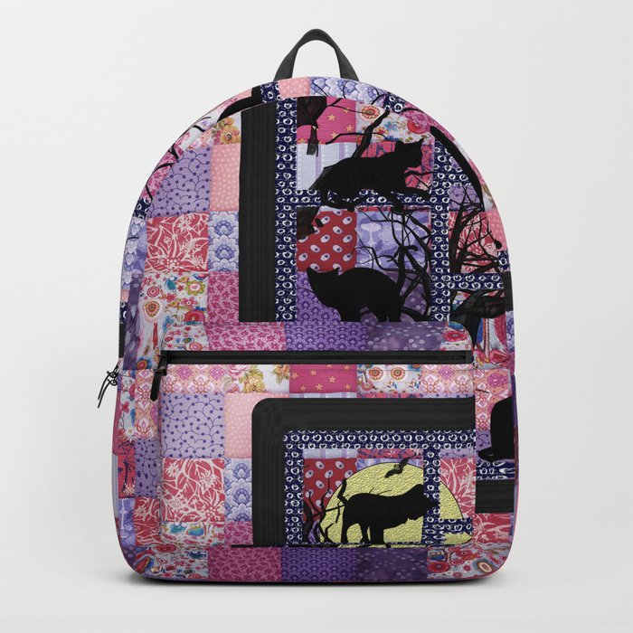 Night Cats on Patchwork Backpack