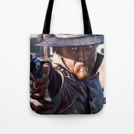 Painting Illustration Of A Cowboy Gunfight Tote Bag