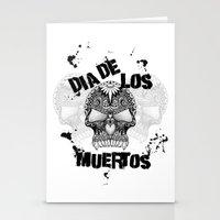 dia de los muertos Stationery Cards featuring Dia De Los Muertos by Digi Treats 2