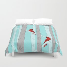 Holiday Forest Cardinals Design Duvet Cover